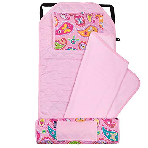 Wildkin Kids Modern Nap Mat with Pillow for Toddler Boys & Girls, Ideal for Daycare & Preschool, Features Elastic Corner Straps, Cotton Blend Materials Nap Mat for Kids, BPA-free (Paisley)