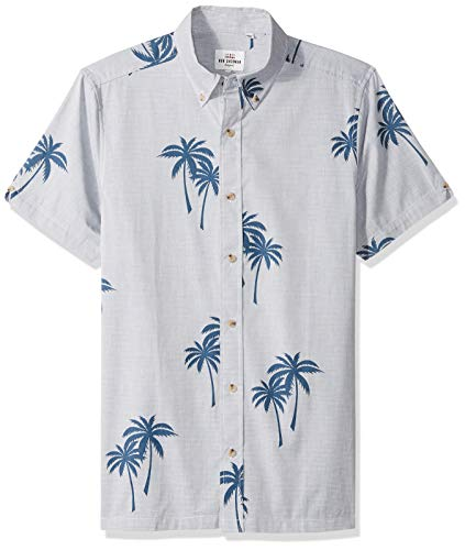 Ben Sherman Men's SS STRIPD Palm PRNT Shirt, Dark Blue, XL