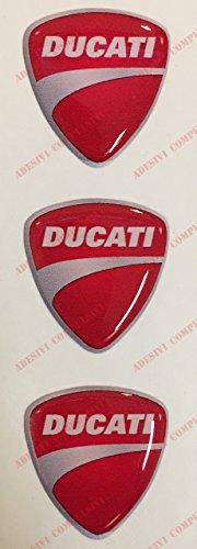 Escudo Logo Decal Ducati, Tris pegatinas resinati, efecto 3d. Para depósito o casco