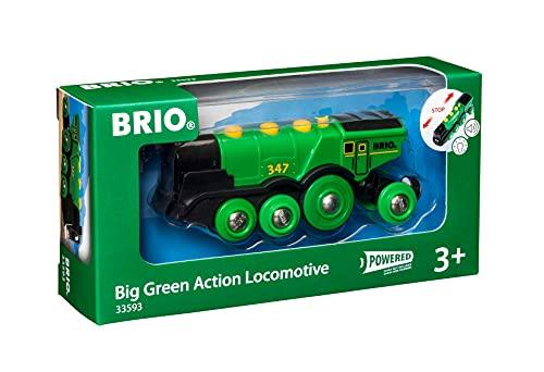 BRIO World 33593 Grüner Gustav elektrische Lok – Batterie-Lokomotive mit Licht & Sound – Kleinkinderspielzeug empfohlen ab 3 Jahren