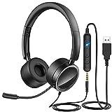 YIKANWEN PC Headset mit Mikrofon USB/3,5mm Klinke Headset Noise Cancelling & Klare Stereo-Sound für Call Center Office Telefonkonferenzen Business Skype-Chat e-Learning und Musik