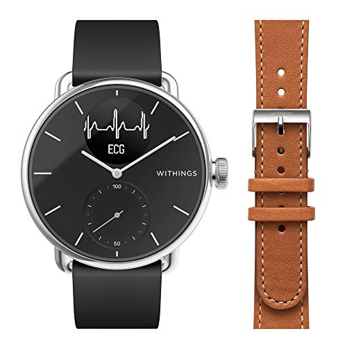 Withings Scanwatch 38 mm, Hybrid Smart Watch with ECG, Heart Rate Sensor And Oximeter, SpO2, Sleep Tracking Unisex-Adult + Braccialetti per Steel, HR 36mm Rose Gold, Activité Premium
