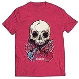 lepni.me Camisetas Hombre Guitarras, Calavera, Rosas - Amantes del Concierto de Rock & Roll (XL Brezo Rojo Multicolor)