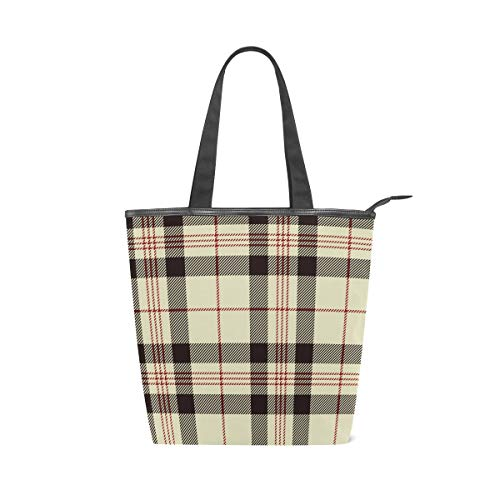 Stripe Plaid Yellow Red Large Utility Canvas Tote Bag Work Travel Shoulder Bag Handbag Reusable Grocery Bags for Women and Girls (11×4×13.6 in)