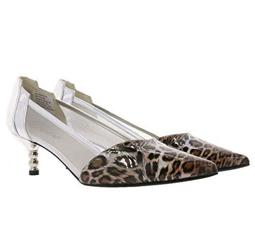 Heine Pumps Klassische Damen Party-Schuhe Absatz-Schuhe mit schimmerndem Glitter Leo Look Ausgeh-Schuhe Silber, Größe:35