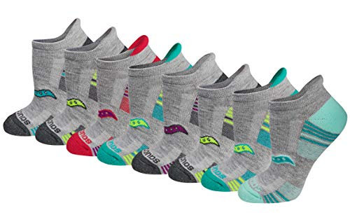 Saucony Women's Performance Heel Tab Athletic Socks (8 & 16, Grey Assorted (8 Pairs), Shoe Size: 10-13