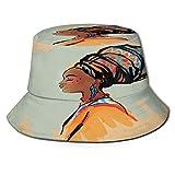 Starodec Cappello da Pescatore Donna Ritratto di Profilo Acquerello Africano di Donna Nativa con Pettinatura Etnica E Orecchini Outdoor Pieghevole Secchio Tappo per Campeggio in Viaggio Pesca