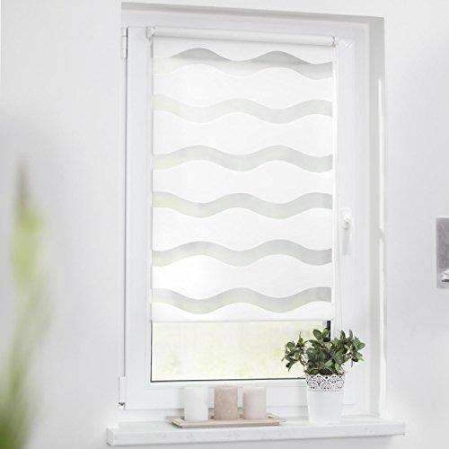 Lichtblick Duo-Rollo Welle Klemmfix, 90 cm x 150 cm (B x L) in Weiß, ohne Bohren, Doppelrollo mit Jalousie-Funktion, dekorativer Sonnen- & Sichtschutz, für Fenster & Türen - 3