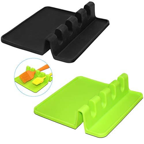 FineGood - 2 piezas de silicona Resto de la Cuchara Cuchara del soporte del sostenedor Utensilios de cocina apoyacucharas rack