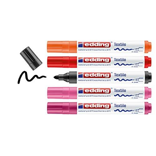 edding 4500 Textilmarker - schwarz, 2x rot, orange, pink - 5 Stück - Rundspitze 2-3 mm - Textilstifte waschmaschinenfest (60 °C) zum Stoff bemalen - Stoffmalstift