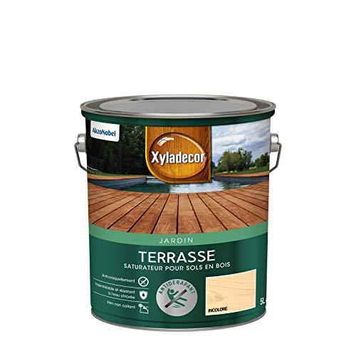 Xyladecor - Saturateur pour Sols Extérieurs en Bois - Terrasses, Abords de Piscine, Caillebotis - Antidérapant - Couleur : Mat Incolore - Quantité : 5L - 5324229
