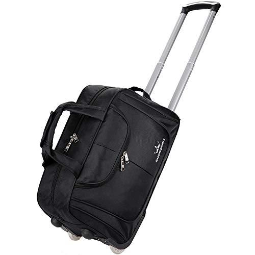 XIAOGAO Gepäck Rollgepäcktasche Leichte wasserdichte Softshell Travel Business Tote Handtasche, Männer Und Frauen Zwei Räder (3 Farben),Schwarz
