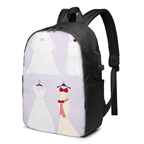 Laptop Rucksack Business Rucksack für 17 Zoll Laptop, Kleid Hochzeitskostüme Schulrucksack Mit USB Port für Arbeit Wandern Reisen Camping, für Herren Damen
