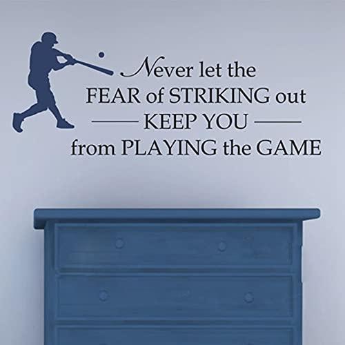 Calcomanía de vinilo para pared de béisbol - Never Let Fear Of Hit - Boys Room Baseball Decor Sticker 3587_Photo Color