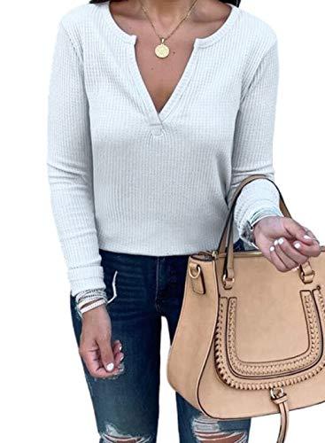 CORAFRITZ Sudadera de moda para mujer, color sólido, cuello en V, manga larga, casual, túnica