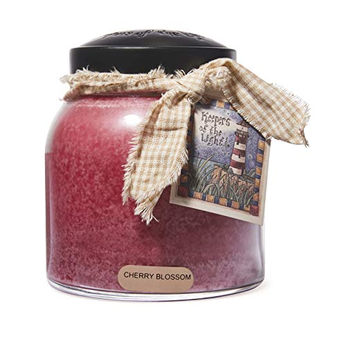 A Cheerful Giver - Cherry Blossom Papa Scented Glass Jar Candle (34oz) with Lid & True to Life Fragrance Made in USA