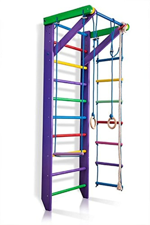 Sportgert Turnwand Kinder Gym Sport-2-220-lilat Klettergerüst Fitness Kletterwand Holz Sprossenwand mit Stange