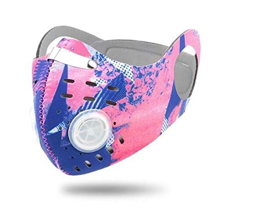 ROXX (Pink-Blue Graphics) Outdoor Cycling Neoprene Camo Mask with Changeable Filter, Unisex Anti Pollen Allergens PM2.5 Filters Dust Includes Filter and Bonus