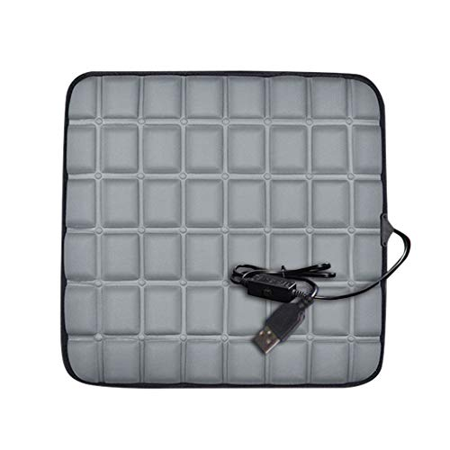 Alecony 12V Auto USB Beheizbare Kissen,Sitzheizung mit Wärmefunktion,Universal Heizauflage,Beheizbar Massagesitzauflage,Autositzauflage,Rücken Massage Matte mit Wärme,Vordersitz Heizkissen (Grau)