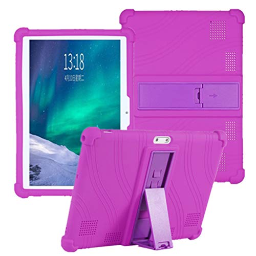 HminSen Kids Silicone Adjustable Stand Case Cover Compatible with Dragon Touch K10 / Notepad K10 / Max10 Tablet, Lectrus 10.1, Victbing 10, Hoozo 10, Winsing 10, ZONKO 10.1 Android Tablet (Purple)