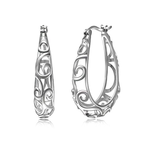 YFN Enternity Celtic Knot Hoops Earrings 925 Sterling Silver Polished Irish knot Circle Hoop Jewelry for Women Girls (Filigree Hoop Earrings)