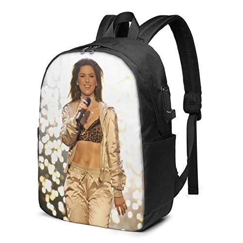 Hdadwy Shania Twain Mochila para portátil de Moda y cómoda Mochila de Senderismo Informal con Puerto de Carga USB de 17 Pulgadas, Adecuada para Hombres y Mujeres