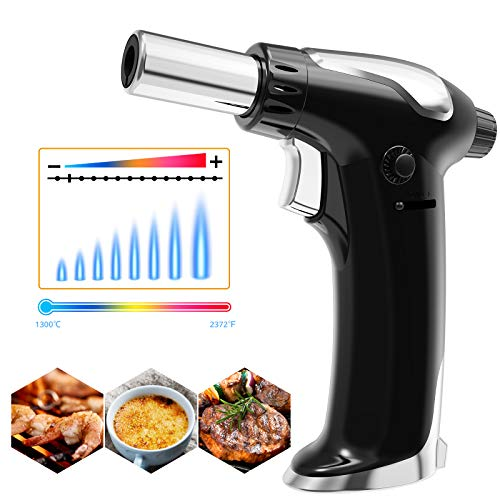 iVict Butane Torch, Torch Lighters Refillable with Adjustable and Sustained Flame, Kitchen Blow Torch for BBQ, Baking, Desserts, Creme Brulee- One Hand Operation (Butane Gas Not Included)