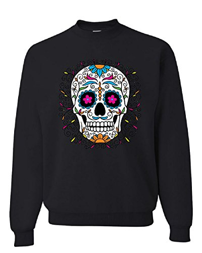 Floral Sugar Skull Day of The Dead Sweatshirt Dia de Los Muertos Black L