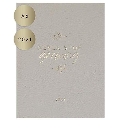 """JO & JUDY Taschenkalender""""Never stop growing"""" 2021 - beiger Kalender mit Goldfolienprägung, 16,0 cm x 12,0 cm - A6"""