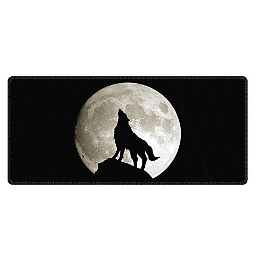 Meffort Inc Extra Large Extended Gaming Desk Mat Non-Slip Rubber Pads Stitched Edges Mouse Pad 35.4 x 15.7 inch - Wolf Howling Moon
