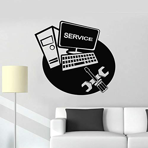 Pared de la computadora, computadora portátil, servicio, renovación, tecnología, vinilo, ventana, reparación, herramienta, arte, mural de la pared