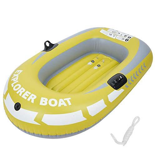 Joycelzen - Kayak hinchable de PVC para una persona con cuerda, para pesca, flotar y natación, carga de hasta 55 kg, color amarillo