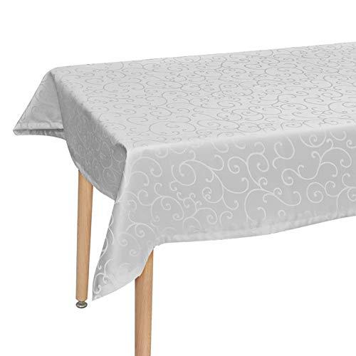 Laneetal Mantel para Mesa de Cocina o Salón con Bordado 130x220cm Antigrasa Antimanchas 100% Poliéster Color Gris Claro 100% Poliéster 0800238