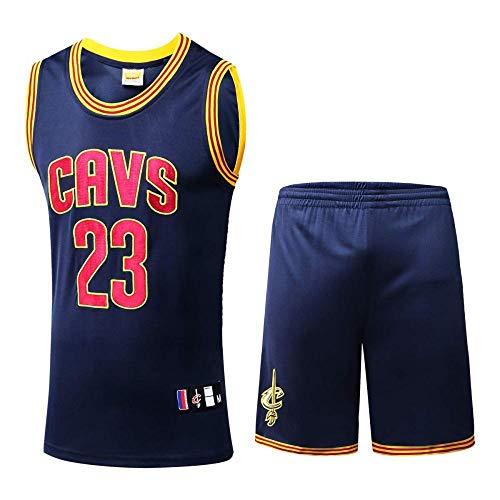 NBA Camiseta De Baloncesto,NBA Cavs #23 James Basketball Jersey Classic Hombres Uniforme De Baloncesto Conjunto Bordado Baloncesto Swingman Mangas,Blue-M