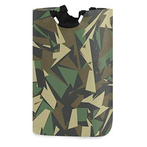 Abstract Vector Military Camouflage Background Laundry Hamper,Waterproof and Foldable Laundry Bag with Handles for Baby Nursery College Dorms Kids Bedroom Bathroom