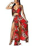 EOSIEDUR Women's Bohemian Floral Printed V Neck Crop Cami Top Split Beach Party Maxi Dress, Floral Red, Medium