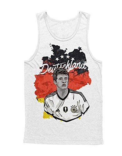 Hypeshirt Tank-Top Deutschland Thomas Müller Fußball EM Europa Meisterschaft UEFA Euro 2016 Trikot M161604 Weiß XXL