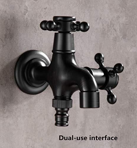 HTBYTXZ Zwart Bakken Lak Wasmachine Dual Gebruik Kraan/Tuin Cross handvat Water Tap/Wasserij Sink Mop Pool Messing Enkele Koude Tap