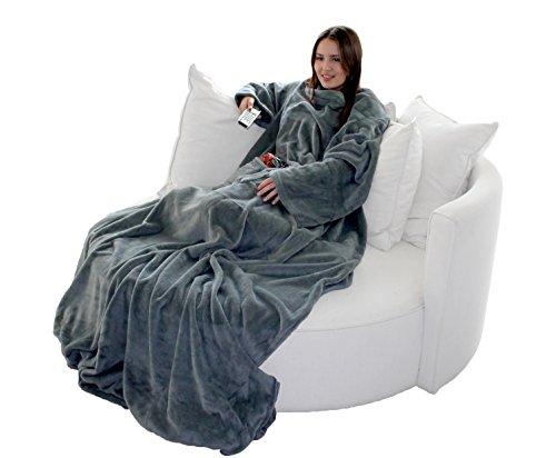 Brandsseller Flauschige TV-Decke mit Ärmeln in Cashmere Feeling - Fußsack und 2 Taschen - Kuscheldecke Tagesdecke - 170 x 200 cm - Grau