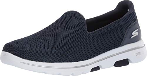 Skechers Women's GO Walk 5 Trainers, Blue (Navy Textile/White NVW), 5.5 (38.5 EU)