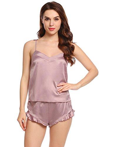 ADOME Damen Kurz Negligee Träger Shorty Sexy Dessous Set Satin Schlafanzug V-Ausschnitt Pyjamas Set