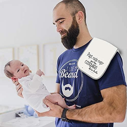 MIMUSELINA Camiseta Barba y Babita Regalo para el Dia del Padre. Secababitas para el bebé Papi, Nada Mejor Que Las cosquillas de tu Barba (M) (L)