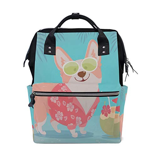 MERRYSUGAR Diaper Bag Backpack Corgi Hawaii Dog Blue Baby Bag School Backpack Mommy Bag Large Multifunction Travel Bag