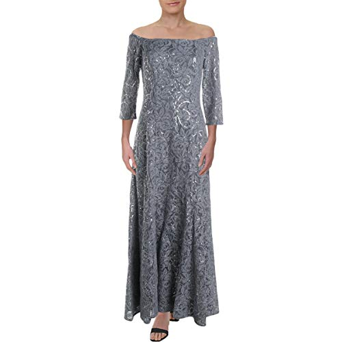 Alex Evenings Women's Long Off The Shoulder Dress with 3/4 Sleeves, Nickel, 14 (Apparel)
