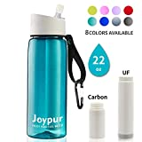 joypur Outdoor Filtered Water Bottle - Camping Water Filter with 3-Stage Integrated Water Purifier for Travel Hiking Backpacking Teal