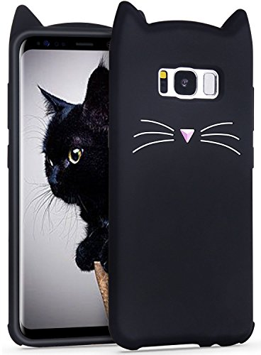 Mulafnxal Case for Samsung Galaxy S8,Soft Silicone 3D Cartoon Animal Cat Slim Cover, Cute Cases Kids Girls Shock Proof Rubber Gel Kawaii Character Fashion Protector for Samsung S8 Black Cat