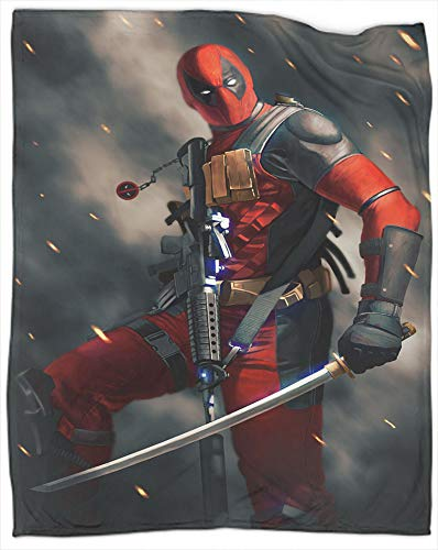 Flannel Fleece Microfiber Throw Blanket Superhero Deadpool as Bedspread/Coverlet/Bed Cover/Bed Sheets - Soft, Lightweight, Warm and Cozy Throw Size 50' X 60'