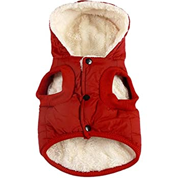 Vecomfy Fleece Lining Extra Warm Dog Hoodie in Winter,Small Dog Jacket Puppy Coats with Hooded,Red XS