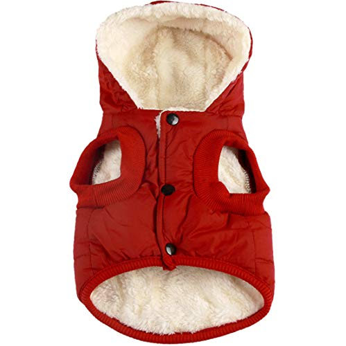 Vecomfy Fleece Lining Extra Warm Dog Hoodie in Winter,Small Dog Jacket Puppy Coats with Hooded,Red S