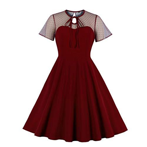 Wellwits Women's Polka Dots Embroidery Keyhole Tie Wine Vintage Christmas Dress 3XL